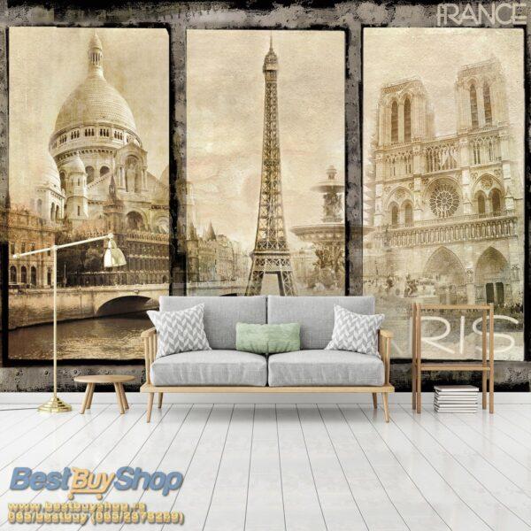 021p4-7 pariz ajfel kula sena francuska france paris razglednica fototapeta foto tapeta 3d tapete fototapet