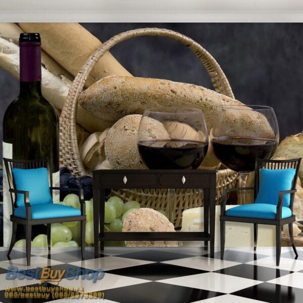 101p4-1 vino grozdje hleb sir kuhinja fototapeta foto tapeta 3d tapete fototapet