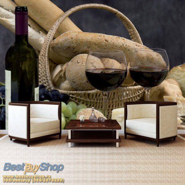 101p4-3 vino grozdje hleb sir kuhinja fototapeta foto tapeta 3d tapete fototapet