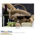 101p4-6 vino grozdje hleb sir kuhinja fototapeta foto tapeta 3d tapete fototapet