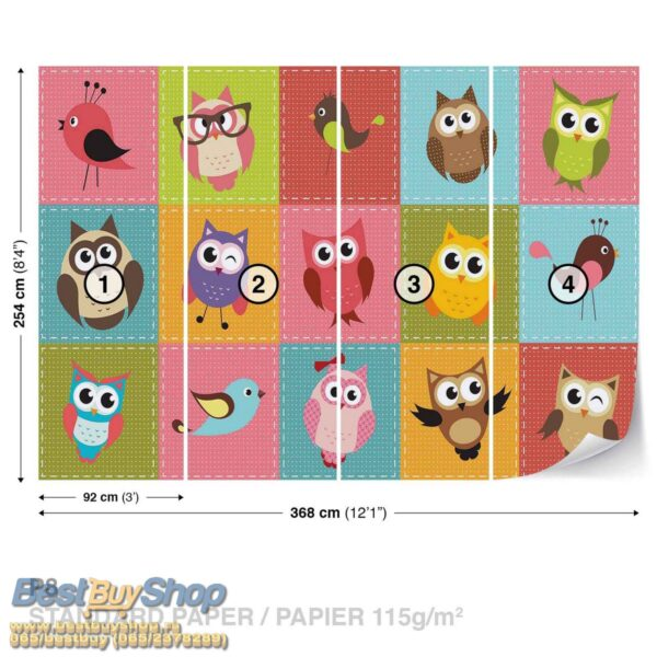 1035p8-4 sova ptica decija decja fototapeta foto tapeta 3d tapete fototapet