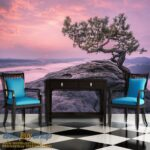 Vintage wenge, console table with blu chairs and checker floor