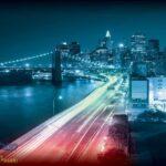 205P8 New York Brooklyn bridge night colors