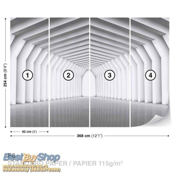 2651P8-2 tunel geometrija siva hol fototapeta foto tapeta 3d tapete fototapet