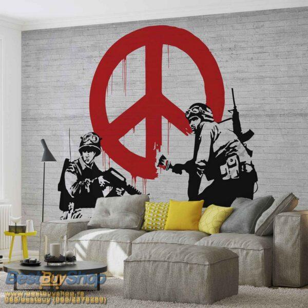 2730P8-2 banksy grafit street art peace mir fototapeta foto tapeta 3d tapete fototapet