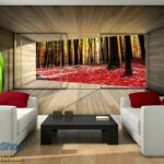 Interior of the modern design room with orange jalousie 3D rende