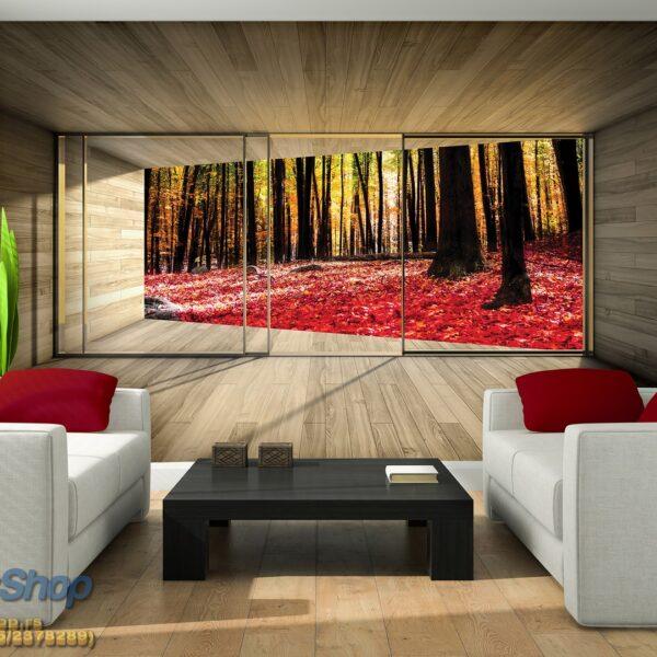 Interior of the modern design room with orange jalousie 3D rende