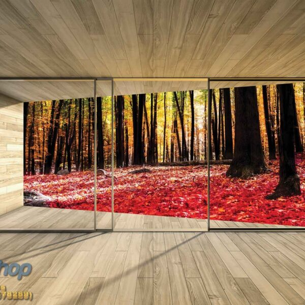3296P4 autumn red forest wooden terrace