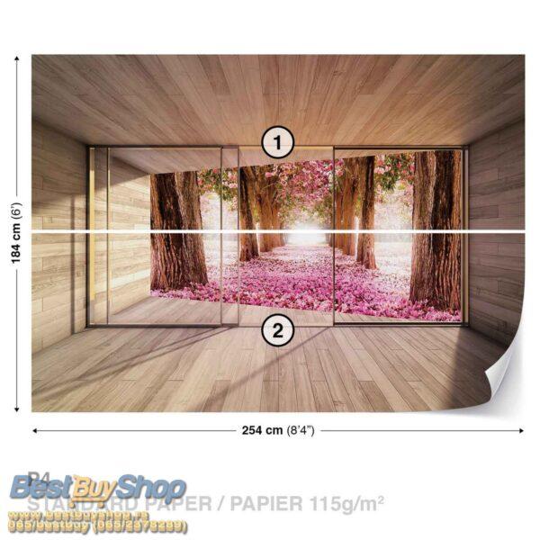 3298P4-1 prozor drvo suma cvece tresnja fototapeta foto tapeta 3d tapete fototapet