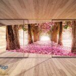 3298P4 autumn rose forest wooden terrace