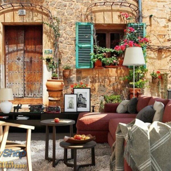 49649p8-3 street garden vintage cvece stara kuca fototapeta foto tapeta 3d tapete fototapet