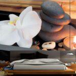 49683p8-3 kamen sveca cvet spa zen fototapeta foto tapeta 3d tapete fototapet