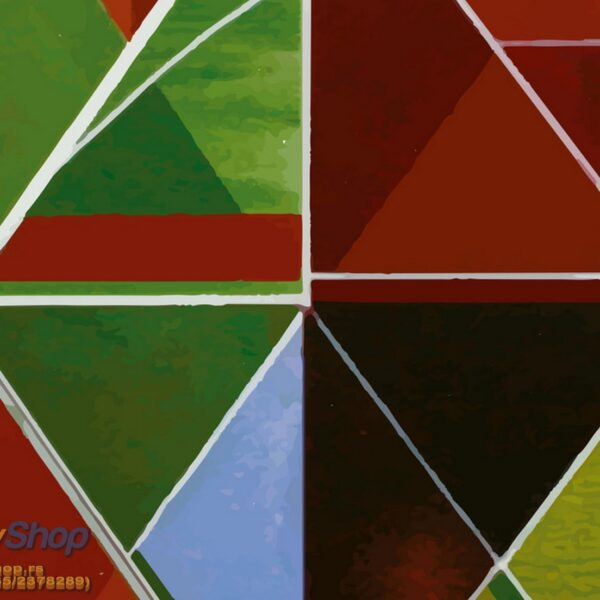5169-4P-1-P8-3 trouglovi zelena plava crvena fototapeta foto tapeta 3d tapete fototapet