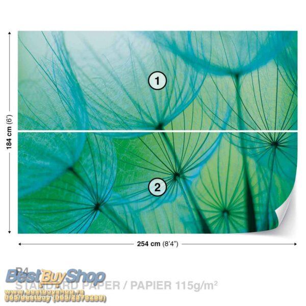 585P4-1 maslacak plava zelena tirkiz cvece fototapeta foto tapeta 3d tapete fototapet