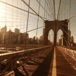 29668P4 brooklyn bridge sunset crossing