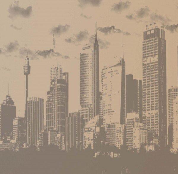 8-026P8 sepia city skyline