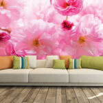 wm012p4-1roza ruze roze cvece na zidu 3d fototapeta foto tapet tapeta zidni mural